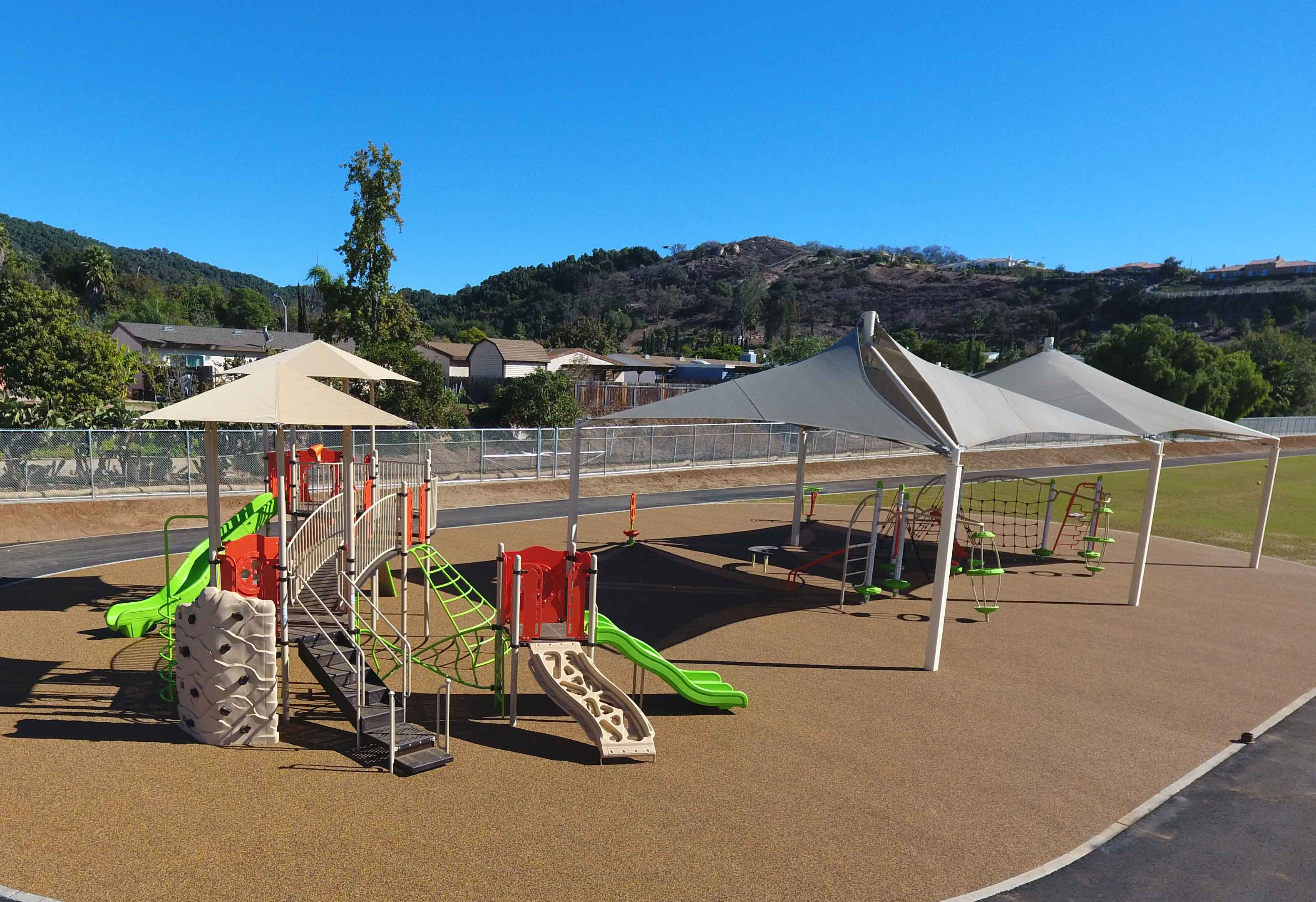 View of Playgrounds and Shade Structures